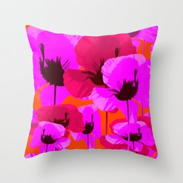 Pink And Red Poppies On A Orange Background - Summer Juicy Color Palette - Retro Mood Throw Pillow