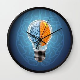 Left and Right Brain, how an idea originated, whether from the left or right brain Wall Clock