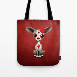Red Day of the Dead Sugar Skull Chihuahua Puppy Tote Bag
