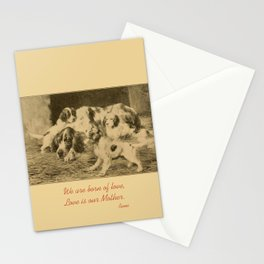 English Setter puppies & Mother's Day quote Stationery Cards