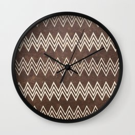 Vintage brown white rustic faux leather chevron Wall Clock