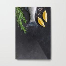 Fish tail with tarragon and lemon l Food Photography Metal Print