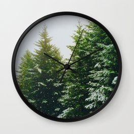 Winter Pine Tree Forest (Color) Wall Clock