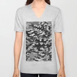 Foliage Abstract Pop Art In Monotone Black and White Unisex V-Neck