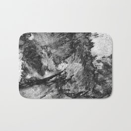 black white gray paint in monotype technique, abstract texture background for your design Imitation Bath Mat