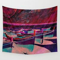 boats Wall Tapestries featuring vintage boats by  Agostino Lo Coco