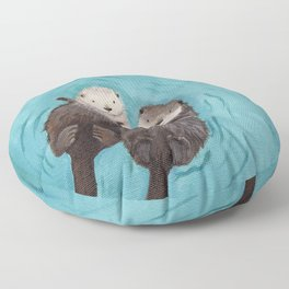 Otterly Romantic - Otters Holding Hands Floor Pillow