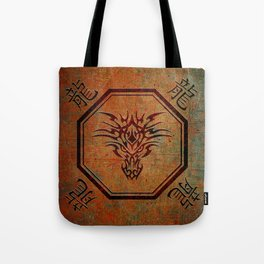 Tribal Dragon Head In Octagon With Dragon Chinese Characters Tote Bag
