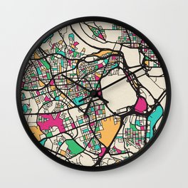 Colorful City Maps: Arlington County, Virginia Wall Clock
