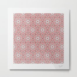 Symmetrical Flower Pattern in Pink Metal Print