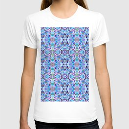 Turquoise Blue Flower Girly  Pattern T-shirt