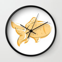 My Gold Fish goldfish little fish I love my goldfish digital drawing Wall Clock