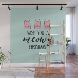 Meowy Christmas Mint Wall Mural