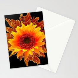 Decor Black & Brown Golden Sunflower Art Stationery Cards