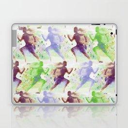 Watercolor women runner pattern Brown green blue Laptop & iPad Skin