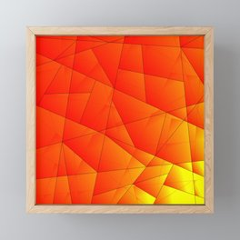 Bright yellow pattern of red triangles and irregularly shaped lines. Framed Mini Art Print