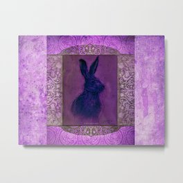 Happy Hare Lilac Metal Print