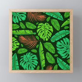 Jungle Leaves and Feather Pattern Sophisticated Design Framed Mini Art Print