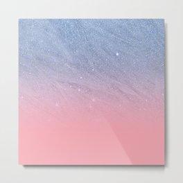 Modern blush coral pink pastel blue elegant faux glitter Metal Print