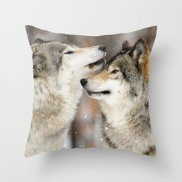 Winter Wolves Throw Pillow