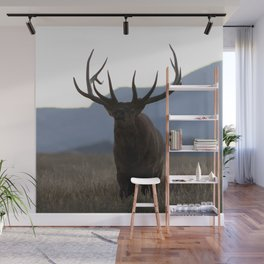 Watercolor Elk Bull 49, Estes Park, Colorado, Dusk Wall Mural