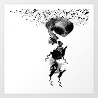 human in shower Art Print