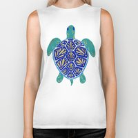 sea turtle Biker Tanks featuring Sea Turtle by Cat Coquillette