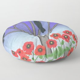 crows in the stained glass tree with poppies Floor Pillow