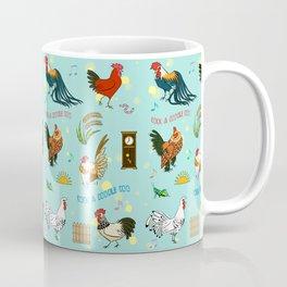 Cute seamless roosters pattern cartoon Coffee Mug