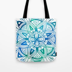 Mandala - Blue Green Watercolor Tote Bag