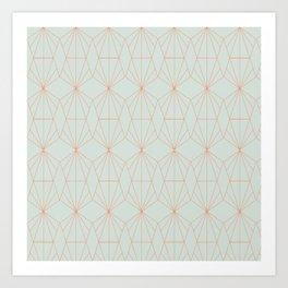 Geometry art decó in blue and orange Art Print