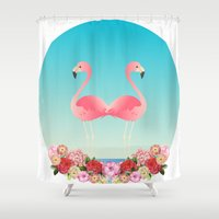 flamingos Shower Curtains featuring Flamingos by Juliana Zimmermann