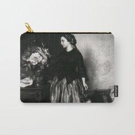 Jean-Baptiste Antoine Emile Beranger - Een meisje schikt bloemen in een kan Carry-All Pouch