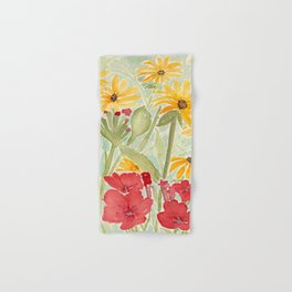 Sunny Yellow Rudbekia and Red Petunias in the Garden Watercolor Flowers Hand & Bath Towel