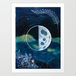Quarter Moon Original Mixed Media Painting Art Print