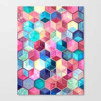 crystal Canvas Prints featuring Topaz & Ruby Crystal Honeycomb Cubes by micklyn