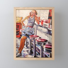 Girl In Vintage Retro Diner Framed Mini Art Print