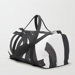 Black And White Minimalist Mid Century Abstract Ink Art Circle Swirls Black Circles Minimal Duffle Bag