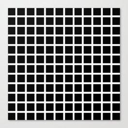 Endless Grid Retro Themed Black and White Design Canvas Print
