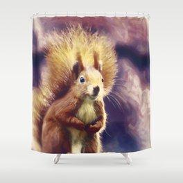 squirrel digital oil paint dopfn Shower Curtain