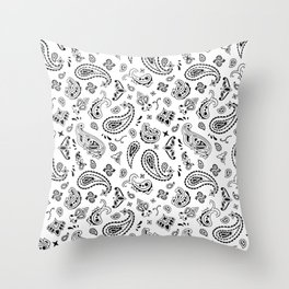 White Bandana Throw Pillow