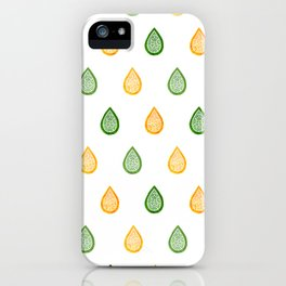 Yellow and green raindrops iPhone Case