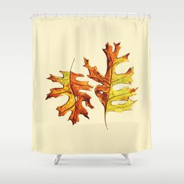 Ink And Watercolor Painted Dancing Autumn Leaves Shower Curtain
