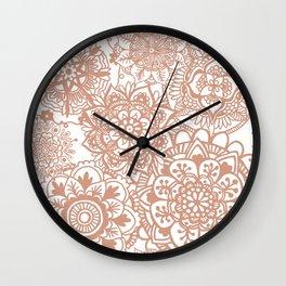 Rose Gold Mandala Pattern Wall Clock