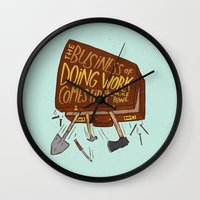 mike wrobel Wall Clocks featuring Mike Rowe by Josh LaFayette