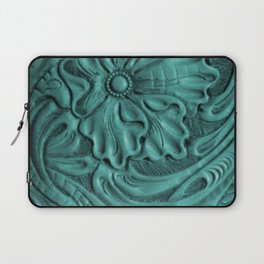 Teal Flower Tooled Leather Laptop Sleeve