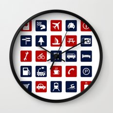 Travel Icons in RWB Wall Clock