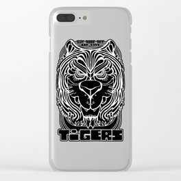 Tiger Crest - Black and White Chalkboard Clear iPhone Case