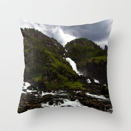 Norwegian Waterfalls Throw Pillow