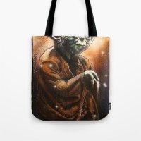 yoda Tote Bags featuring Yoda by calibos